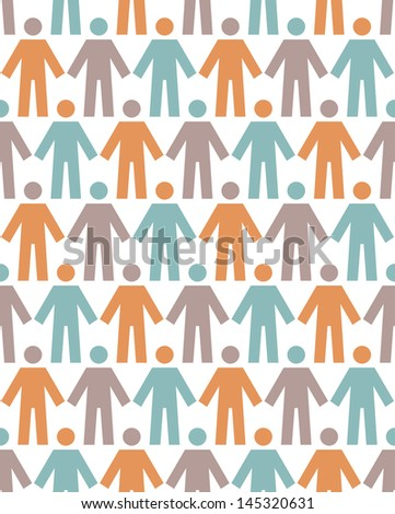 Seamless pattern with icons of people figure. White background with color silhouettes of persons. Simple abstract ornamental illustration with concept of team, humanity, multicultural society