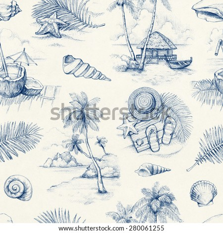 Seamless pattern with illustrations of a tropical paradise - stock photo