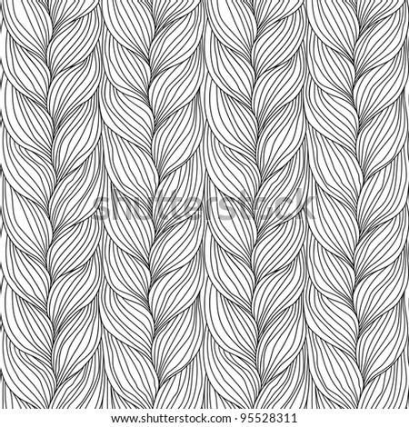 Seamless pattern with interweaving of braids. Abstract background in the form of a knitted fabric. Illustration of the textured yarn close-up. - stock photo