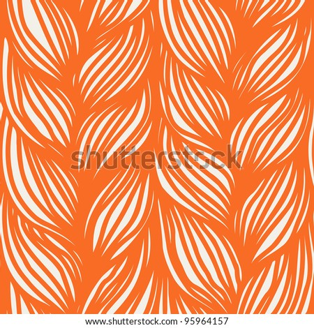 Seamless pattern with interweaving of braids. Orange background in the form of a knitted fabric. Abstract linear illustration of the textured yarn close-up. For vector version see image id 5496289 - stock photo