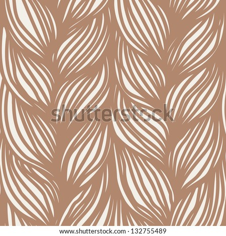 Seamless pattern with interweaving of brown braids. Abstract simple background in form of hairstyle in plaits. Ornamental decorative illustration with stylized texture of yarn, knitted fabric close-up - stock photo