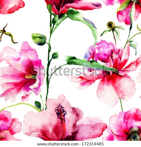 Seamless pattern with Ipomea and Peony flowers illustration, watercolor painting  - stock photo