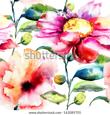 Seamless pattern with Ipomea flowers illustration, watercolor painting