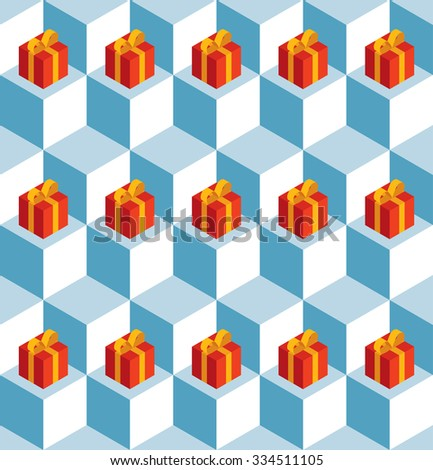 Seamless pattern with isometric white cubes and red gift boxes. - stock photo