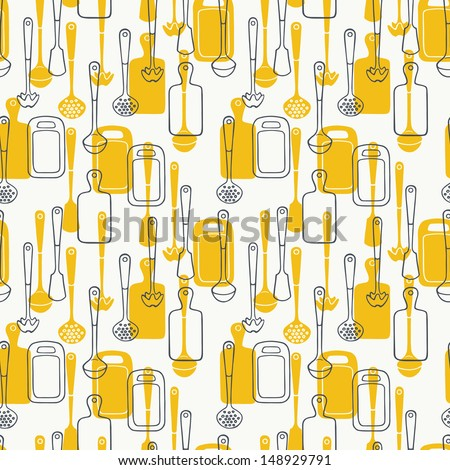 Kitchen Utensils Background seamless pattern kitchen utensils cutting board stock illustration