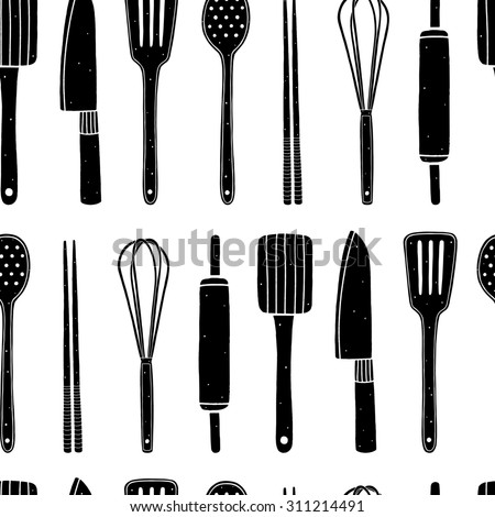 Kitchen Utensils Background hand drawn kitchen set utensils vector stock vector 318937619