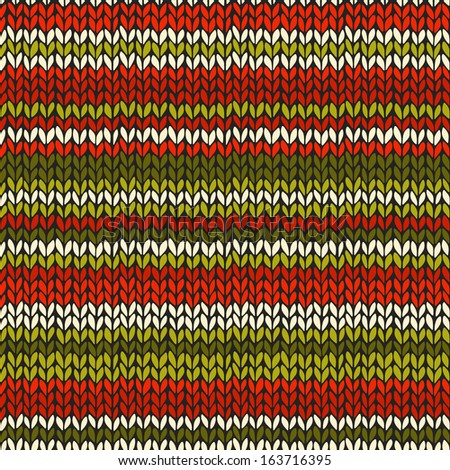 Seamless pattern with knitted stripes in Christmas colors. Winter background, template for your design and decoration - stock photo