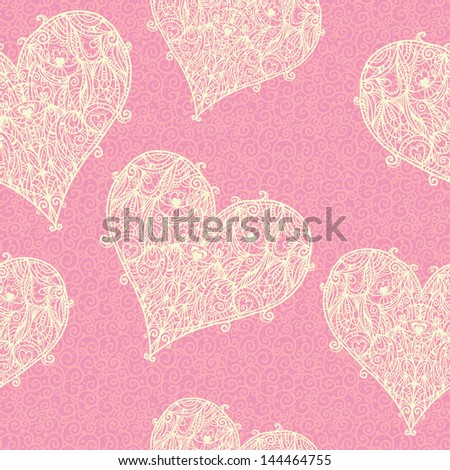 Seamless pattern with lace hearts - raster version