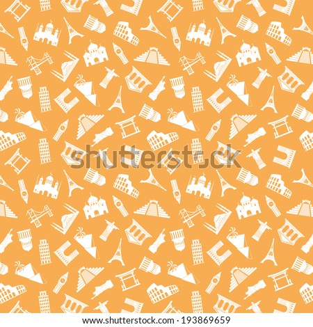 seamless pattern with landmarks silhouettes - stock photo