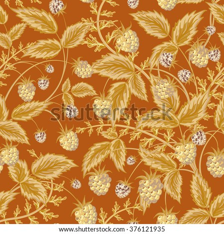 Seamless pattern with leaves and raspberry. Background for your design with bright, contrasting light brown berries and leaves on brown backdrop.  illustration. - stock photo