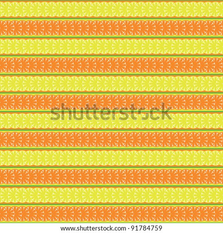 seamless pattern with lemon, orange and abstract leaf - stock photo