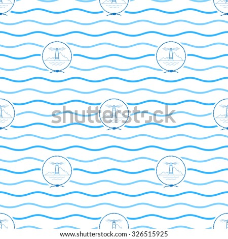 Seamless Pattern with Lighthouse Emblem, Blue  Beacon in the Middle of a Rope  on a Background of  Blue Waves, Seamless Pattern with Marine Element for Web Design or Wallpaper or Fabric - stock photo