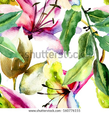 Seamless pattern with Lily flowers, watercolor illustration  - stock photo