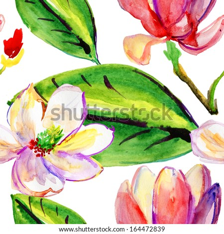 Seamless pattern with Magnolia, watercolor illustration - stock photo