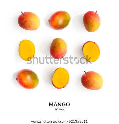 Seamless pattern with mango. Tropical abstract background. Mango on the white background.
