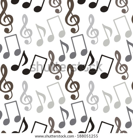 Seamless pattern with music notes, treble clef - raster version