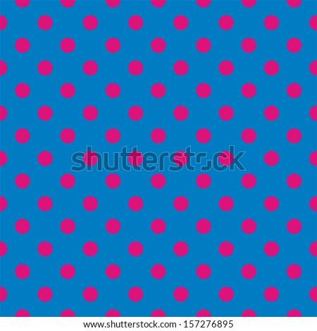 Seamless pattern with neon pink polka dots on a dark blue background. For web design, desktop wallpaper, kids background, art, decoration or scrapbook. - stock photo