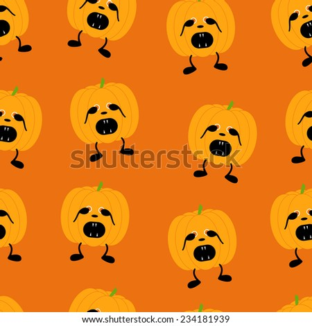 Seamless pattern with orange pumpkin on two black legs with eyes full of fear partly closed by its hands, black nose crying with its mouth full of sharp teeth isolated on bright orange background - stock photo