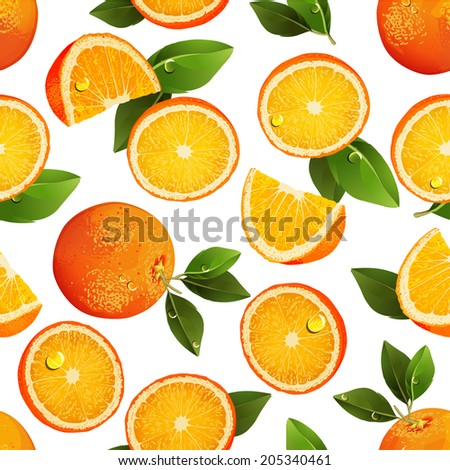 Seamless pattern with oranges, slices and green leaves. Realistic illustration. Fresh oranges fruits.