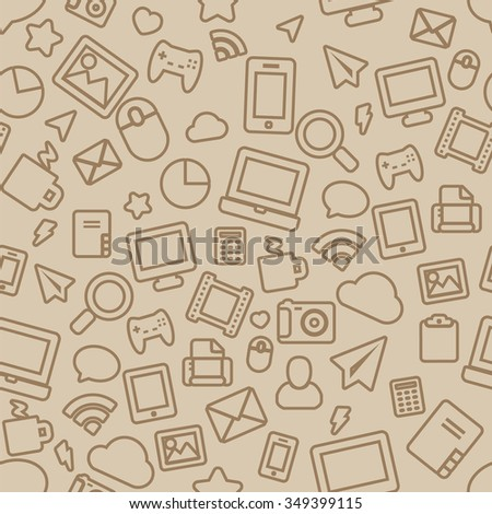 Seamless Pattern with Outline Office Icons