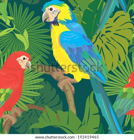 Seamless pattern with palm trees leaves and Blue Yellow and Red Blue Macaw parrots. Ready to use as swatch. Raster version - stock photo