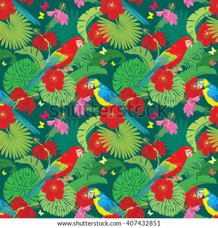 Seamless pattern with palm trees leaves, Frangipani flowers and Blue Yellow and Red Blue Macaw parrots. Element for summer, travel and vacation design. Raster version - stock photo