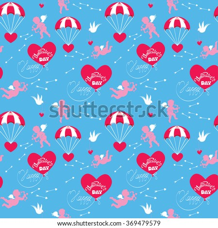 Seamless pattern with parachute, balloon, angel, heart, bird, arrows and calligraphic text Happy Valentines Day on blue sky background. Holiday design with love. Raster version - stock photo