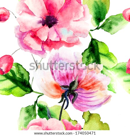Seamless pattern with Peony and Poppy flowers, Watercolor painting  - stock photo