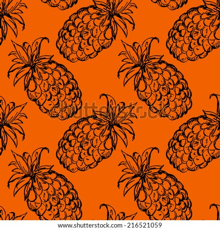 Seamless pattern with pineapples. Abstract floral repeating background. Endless print texture. Fabric design. Wallpaper - raster version - stock photo