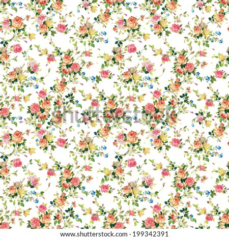 Seamless pattern with pink and white roses - stock photo