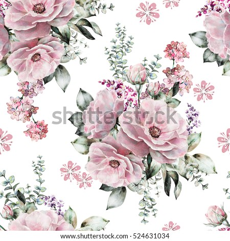 Seamless pattern pink flowers leaves on stock illustration 524631034 seamless pattern with pink flowers and leaves on white background watercolor floral pattern flower mightylinksfo