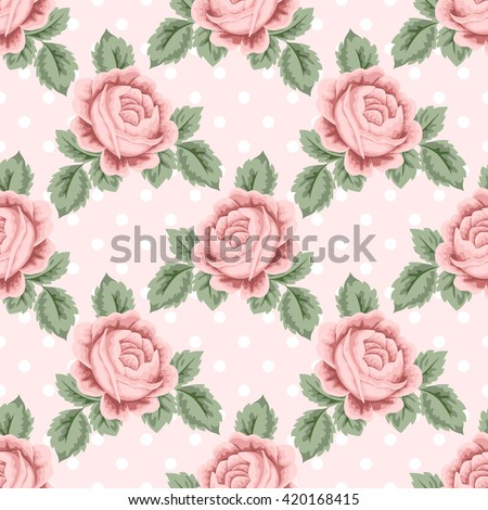 Seamless pattern with pink roses and leaves on light pink polka dot background. illustration in retro style.