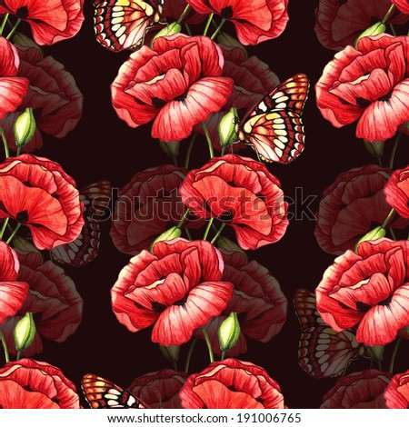 Seamless pattern with poppies and butterflies. Watercolor illustration.  - stock photo