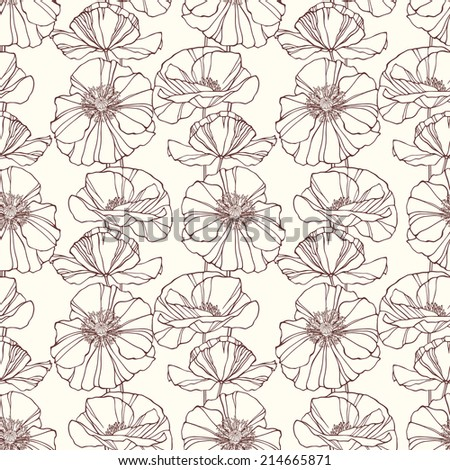 Seamless pattern with poppies. Floral background - stock photo
