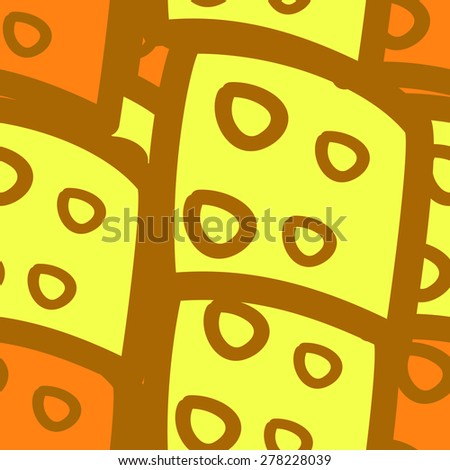 seamless pattern with rectangular and circular elements yellow - stock photo