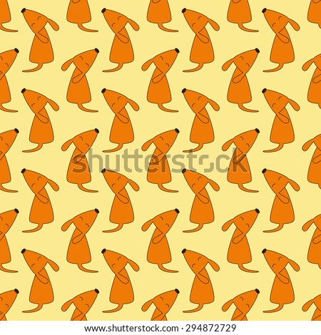 Seamless pattern with repeating foxy colored dog with brown contour sitting opposite one another with head up, closes eyes and curled tail isolated on yellow background. Wallpaper, wrapping paper - stock photo