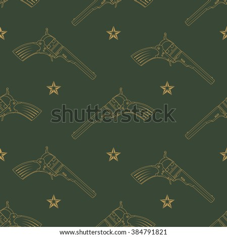 Seamless pattern with revolvers and stars on a green background.