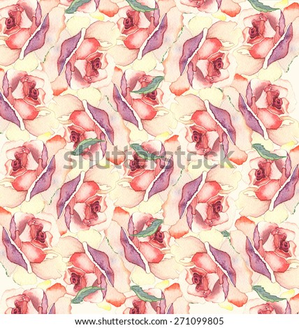 Seamless pattern with rose flowers. Watercolor illustration.
