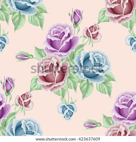 Seamless pattern with roses and leaves. Illustration in retro style.