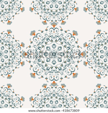 Seamless pattern with round floral ornament. Endless mandala print illustration in Indian, Islam style