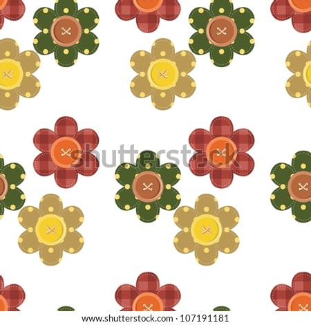 seamless pattern with scrapbook flowers - stock photo