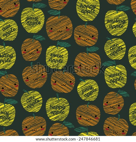 Seamless pattern with scratched smiling apples, summer harvest background. 'Sweet apple, cute apple' typography. Japanese manga style. Endless texture, fruit background. Dessert backdrop. - stock photo