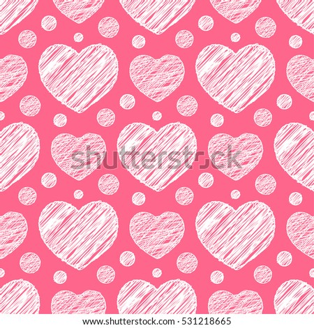 Seamless pattern with scribble hearts. Illustration
