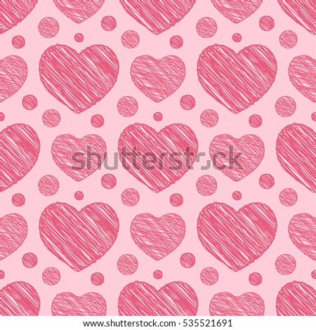 Seamless pattern with scribble hearts. Illustration.