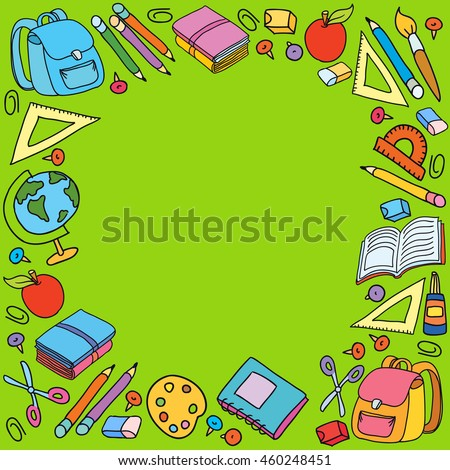 Seamless pattern with set of different school things bag apple