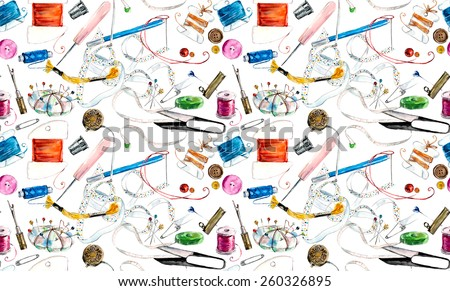 Seamless pattern with sewing & embroidery tools. Sewing related elements on white textured background. Background with sewing tools and colored tape. Scissors, bobbins with thread and needles - stock photo