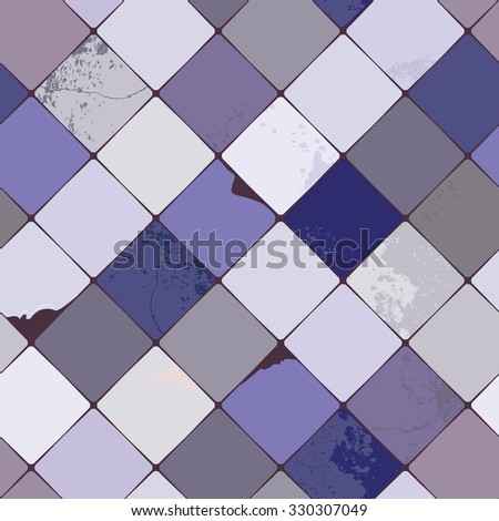 Seamless pattern with shabby chic, realistic, diamond shaped multicolored ceramic tiles with damages and grunge details, perfect for all web and print use, hi resolution raster version. - stock photo