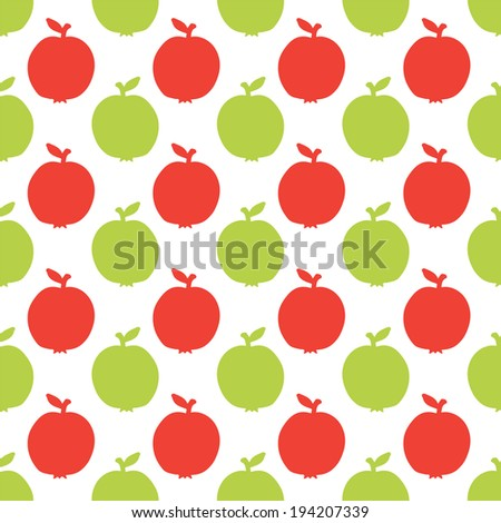 Seamless pattern with silhouettes apples on a white background. Endless print Texture. Food. Fruits. Hand drawing. Retro. Vintage style - raster version  - stock photo