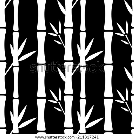 Seamless pattern with silhouettes bamboo trees and leafs. Black and white. Monochrome. Abstract floral background. Endless print texture. Forest. Tropics. Retro. Vintage style - raster version - stock photo