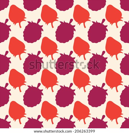 Seamless pattern with silhouettes berries. Strawberries. Raspberries. Endless print texture. Food background. Wallpaper - raster version  - stock photo